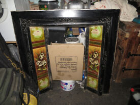 Victorian fire surround, hand painted tiles initialled D.B.T, rare tiles