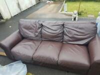 3-seater leather sofa in brown