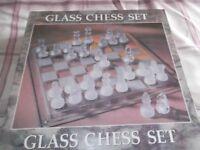 Beautiful glass chess set never used
