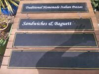 Display boards, 6 table top double sided chalkboards and 1 ladder style chalk boards