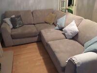 Corner sofa,beautiful light grey less than 2 years old