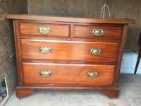 STRAIGHT FRONTED FOUR DRAWER CHEST, NICE CONDITION, SOLID WOOD , DELIVERY AVAILABLE AT COST