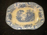 A VICTORIAN VERY LARGE MEAT SERVING PLATE 30X18 INCHES HAS CHIP AND HAS BEEN STAPLED BUT VERY NICE
