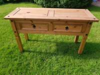 Lovely solid wood 2 drawer console table