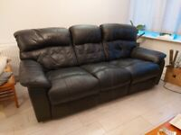3 seater faux leather recliner sofa black