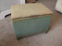 Vintage Retro Lloyd Loom Style Small Ottoman Seat Storage Blanket Box