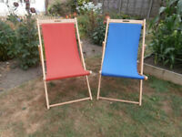 Deck Chairs, folding wooden frame.