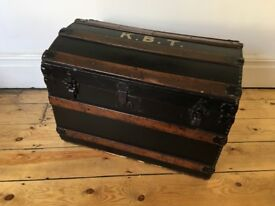 Antique Barrel Top Travel Trunk Worn Vintage Lovely Patina K.B.T Great Condition