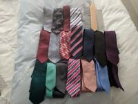 Eighteen ties and tie rack