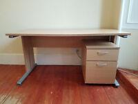 Beech-effect desk and drawer set (£70)