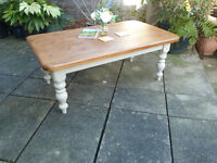 Large farm house/shabby chic pine coffee table