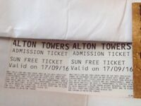 2 Alton towers Sat 17th Sept, actual tickets, £25 including fees and signed for postage
