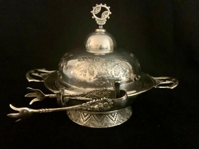 Good American Victorian Silver Quadruple Plate Butter Dish,Barbour Bros Hartford