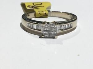 #1496 18K WHITE GOLD ILLUSION PRINCESS CUT DIAMOND ENGAGEMENT RING *SIZE 7 1/2* JUST BACK FROM APPRAISAL AT $3100.00!