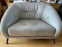 CUDDLE CHAIR, DFS, AS NEW, STUNNING GREY LEATHER/SUEDE, ABSOLUTE BARGAIN AT £200 Ovno
