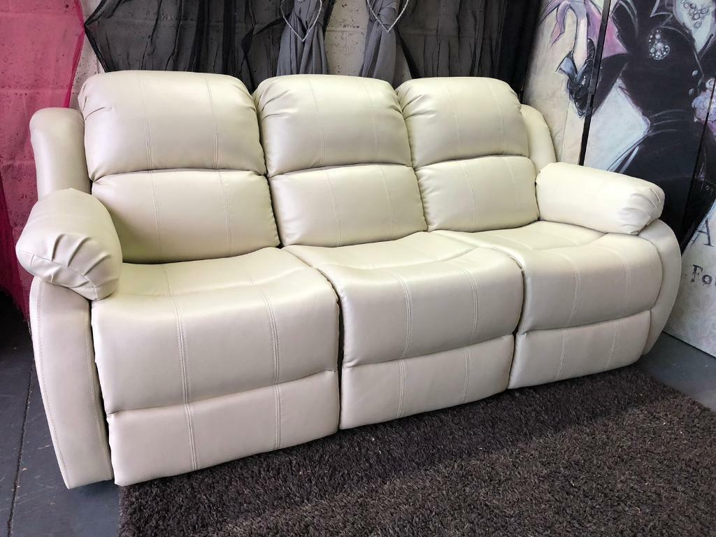 New Rothbury Luxury Faux Leather 3 Seater Manual Recliner Sofa In