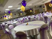 Chair cover hire Birmingham Bearwood, Table cloths Mr&Mrs letters LOVE Letters postbox hire