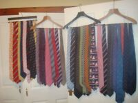 Large selection of quality branded silk ties, many never worn