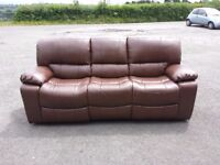 brown leather 3 seater fully reclining sofa and fully reclining armchair suite (nearly new)