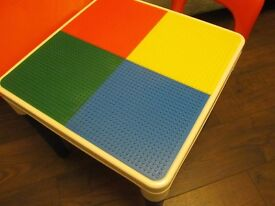 Play table and two chairs, with Lego base.