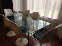 Dining room table and chairs x6 glass and gloss