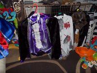 Halloween costumes, Dracula, Werewolf, Zombie convict, Pirate, Skeletons, Bat/magician, Ghost etc