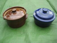 Small Brown Casserole Pot and Blue Stoneware Pot both with Lids - 2 for £5.00