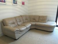 Cream Leather Corner Sofa - Available in 2-3 Weeks