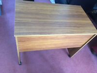 Teak Effect Melamine Desk on Castors
