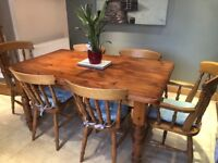 Table and 6 chairs with cushions