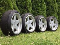 Azev deep dish alloy wheels, 5x120, BMW e36 e46 very rare with tyres