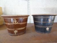 Two Small Plant Pots - Blue and BRown