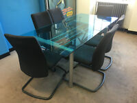 Glass Meeting Table and Chairs