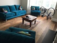 Beautiful 3 Piece Sofa Set by Lounge Co in Blue/Green Velvet