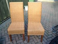 2 Lovely wicker Chairs. Ideal For Dining Room, Bedroom Or Conservatory