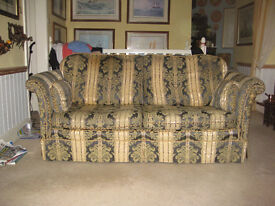 Traditional Patten Gold / Blue 2 Seater Sofa Little Damage to Right Arm Otherwise inGood Condition