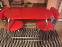 Red Small Table and Chair Set