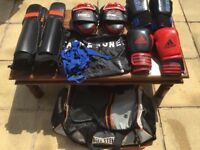GREAT Condition: Set of Adidas Boxing Gloves, SPQ Boxing Gloves, 4 Caged Steel MMA Fight Gear +Bags