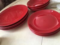 Red plates and bowls set