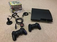 PS3 - Slim 120GB - with 2 controllers, headset and 9 games