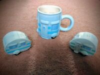 Novelty Caravan Mug, Salt & Pepper Pots