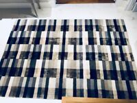 Kari large rug in blues and silver from designer online store Made