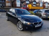 2013 BMW 3 SERIES 320D M SPORT MANUAL BLACK WITH RED LEATHERS 1 OWNER FSH HPI CLEAR