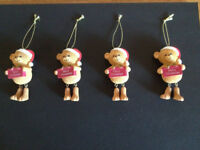 4 x QUALITY TEDDY BEAR CHRISTMAS TREE ORNAMENTS / DECORATIONS