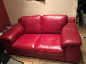 Red leather sofa - good quality (originally from CSL)