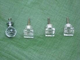 3 Square Glass and 1 Round Cut Glass Drawer Knobs for £4.00