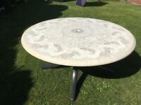 Complete garden set - table, parasol and four chairs.