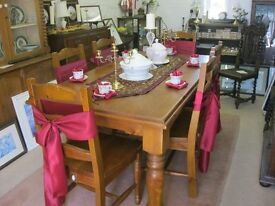 QUALITY SOLID PINE FARMHOUSE LARGE TABLE WITH MATCHING ORNATE CHAIRS. VIEWING/DELIVERY AVAILABLE