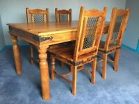 Oak Dining Table & Chairs - ***Stunning Hand-carved - Beautiful Set***