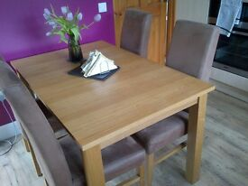 6 Faux Suede Dining Chairs plus Oak Dining Table